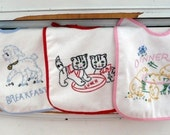 Boutique Vintage Inspired Embroidered 3 piece Baby Bib Baby Shower, Birthday Gift Set Vintage Lamb, kitten, chicks Breakfast, Lunch, Dinner
