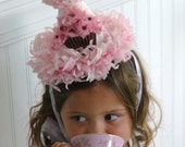 Birthday Girl Boutique Pink Sparkle Princess Cupcake Party Hat with Pink Chiffon Cupcake