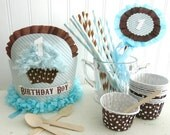 First Birthday Cupcake crown Party Package/kit includes crown, wand, baking cups/favor cups, paper straws blue, brown