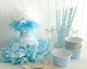 Party hat Vintage Cupcake Blue Glitter Birthday Party Hat Package/Kit w/paper straws, baking/favor/ice cream cups