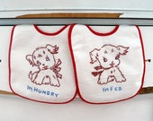 Boutique All Cotton Vintage Inspired Retro Puppies 2 piece Gift Embroidered Baby Bib Set, I'm Hungry , I'm Fed