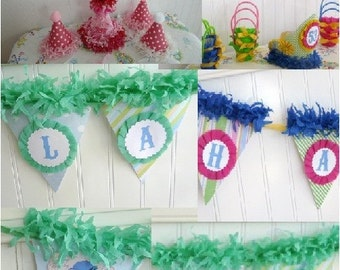 Boutique Custom Banner to match your crepe paper, chiffon cupcake party hat choose any style, color match your tutu, pettiskirt birthday outfit