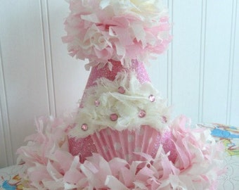 The Priya Pink Bling Boutique Cupcake Party Hat w/chiffon cupcake