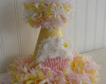The Daisy vintage inspired boutique crepe paper glitter bling Chiffon Cupcake Birthday Party Hat match your tutu pettiskirt photo prop