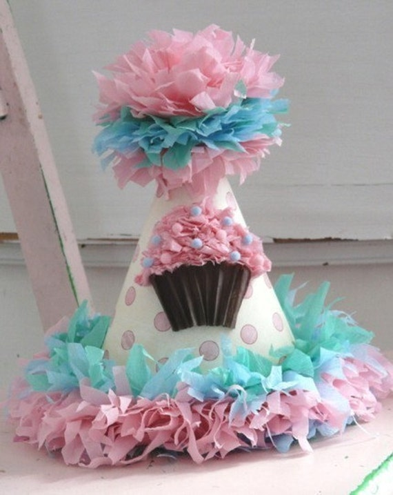 Party Hat- Custom crepe paper party hat your choice of cupcake, sock monkey hat ,custom color and fringe birthday boy or girl.