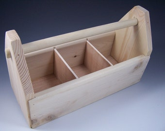 Custom Order for Kate - Wooden Toolbox, Art Caddy, Supplies Organizer with dividers made from pine