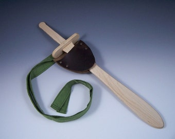 Wooden sword and leather sheath with strap