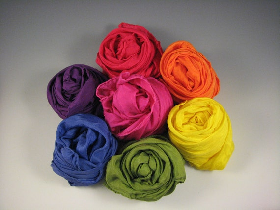 Playsilks - 35 x 35 inch Traditional Rainbow SET of 7 silks - Waldorf Inspired