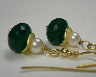 SALE - Lovely Green Onyx Faceted Rondelle Earrings WAS 27.00 NOW 21.99