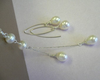 SALE - Simply Drop Pearl Necklace and Earrings Set