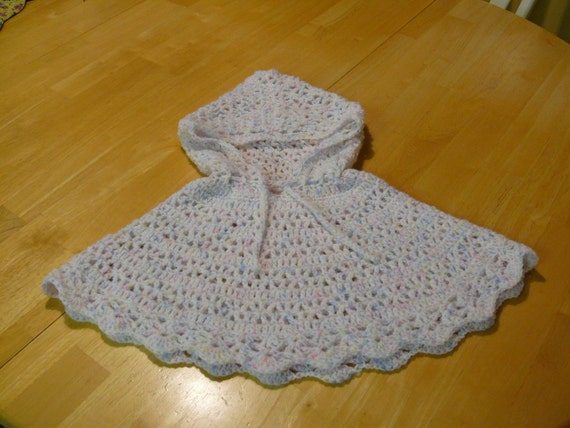 Crochet Hooded Poncho Baby Size 6 12 Months
