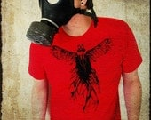 Gas Mask Angel Men's T-shirt - Gasmask Tshirt, Apocalyptic Angel Wings Red Shirt for Men