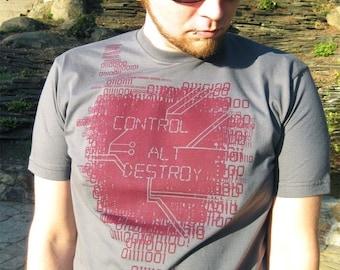 Binary Code Geek Tshirt, Engineer Shirt, Computer Programming Gift, Gift for Him, Boyfriend Tshirt - Control-Alt-Destroy T-shirt