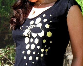 Bee Shirt, Science Shirt - Science Gift, Vegan T Shirt, Honey Bee Black and Gold Scoop Neck Tee - Bee Scientific Women's Tshirt
