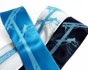 Power Tie - Turquoise Tie, Navy Blue Tie, Nouveau Filigree Power Lines Men's Necktie