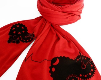 Red Scarf, Printed Scarf, Winter Scarf, Romantic Gifts for Her, Gifts for Him - Tender Time Bomb Scarf