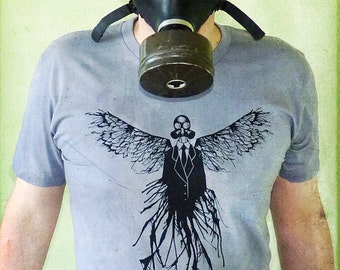 Post Apocalyptic Gas Mask T-shirt - Graphic Tshirt - Gasmask Tshirt, Angel Wings Shirt - Gas Mask Angel T-shirt