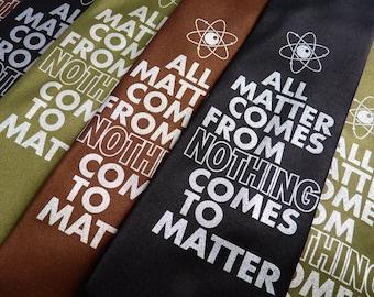 Atomic Philosopher Men's Necktie - Zen Physics Science Tie - Science Gift - Teacher Gift