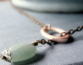 Lariat Necklace, Green, Peach, (Running Through The Wet Grass)
