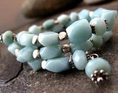 Amazonite and Hill Tribe silver wrap bracelet