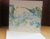 Hand Made Greetings Card Original Monotype Spring I