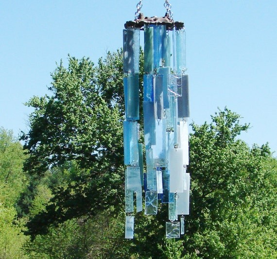 Crystal Blue Persuasion Stained Glass Wind Chimes  OOAK