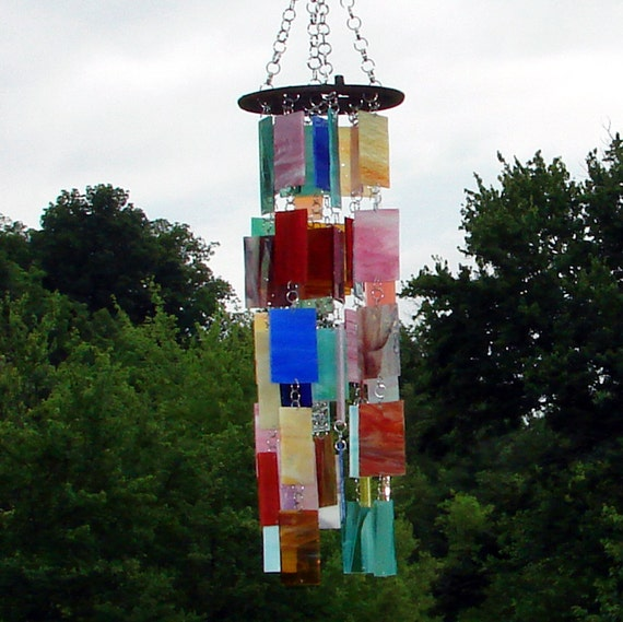 Bringing Semi-Order To Chaos Stained Glass Wind Chimes Sun Catcher Glass Panel OOAK