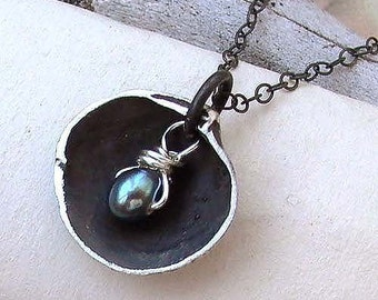 Shell and Pearl Necklace - Sterling Silver - Oxidized - Blue Pearl - Wire Wrapping - Nautical - Cottage Chic -Shell Necklace - Black Pendant