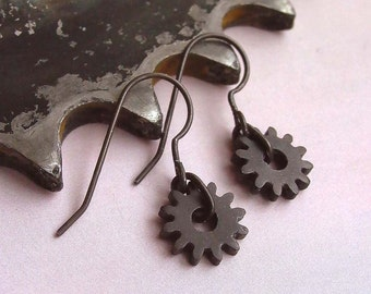 Gear Earrings - Sterling Silver - Black Spike - Tiny Cogs - Oxidized - Industrial - Rustic - Steampunk - Gifts Under 35 - Made In Brooklyn