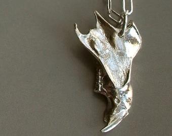 Bone Necklace - Sterling Silver - Jaw Bone - Nature Inspired - Organic - Detailed - Rustic - Animal Bone - Bone Jewelry