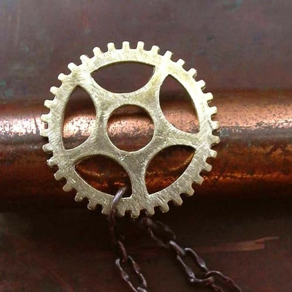 Clock Gear Necklace - Brass - Clock Parts - Cogs - Gears - Unisex - Mens - Vintage Inspired - Rustic  - Steampunk - Gear Necklace - Pendant