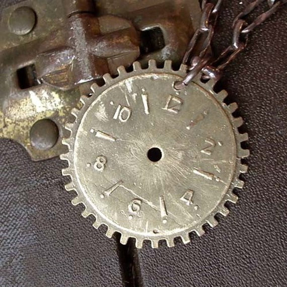 Clock Gear Necklace - Brass - Watch Face - Clock Parts - Cogs - Gears - Industiral - Vintage Inspired - Steampunk - Gear Necklace - Pendant
