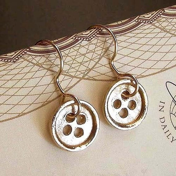 SALE - Button Earrings - Brass - Sewing Inspired - Button Charms - Cottage Chic - Rustic - Button Jewelry - Golden - Dangle Earrings