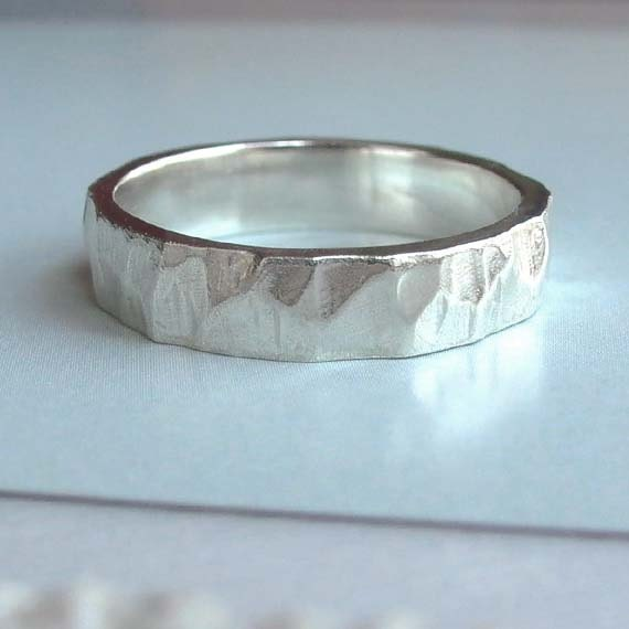 Silver Facet Ring - Size 12.5 - Sterling Silver - Unisex Ring - Beveled Edges - Thick Band - Organic Jewelry