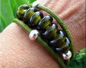 Wild Horse Pinot Noir Recycled Wine Glass beaded Leather Wrap Bracelet
