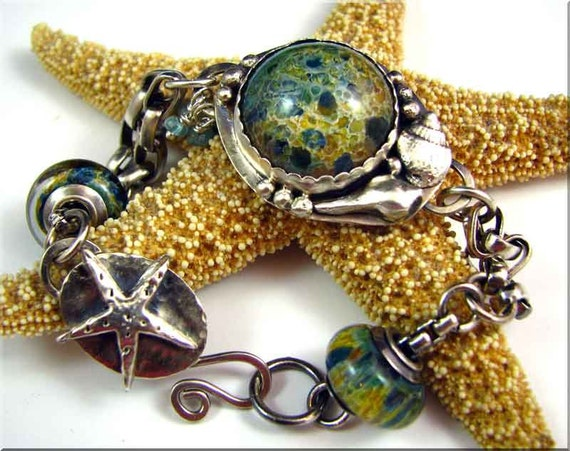 SEA SHORE Sterling Silver & Glass Lampwork Cab Bracelet reserved for Yvette