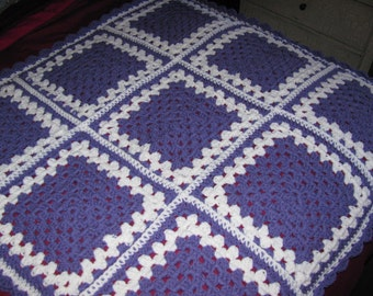 Warm winter Granny square purple and white baby blanket