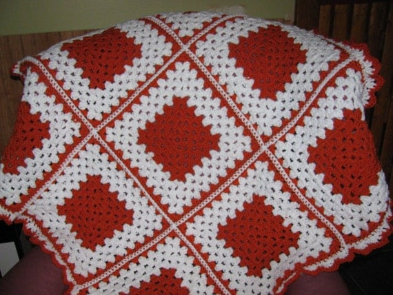 Warm winter crochet Granny square white and carrot orange