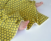 Baby Boy Blanket, 30x30 Handmade Crib Blanket with Minky Huevos Yellow Circles for Toddler Boy