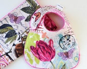 Baby Girl Set Bib and Burp Cloth French Journal Belle Rose Last One
