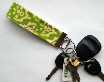 Fabric Keychain Fob in Green Freshcut