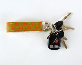 Orange Polka Dots Key Ring Fob
