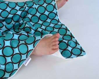 Baby Boy Minky Blanket, Turquoise Ring Dot Lovie, Security Blanket for Baby Boy Toddler Boy