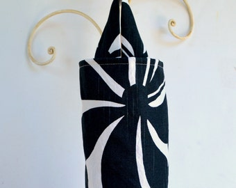 Fabric Plastic Grocery Bag Holder Black and White Large Flowers