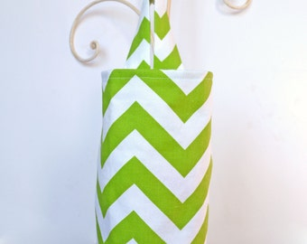 Fabric Plastic Grocery Bag Holder Green Chevron Zig Zag