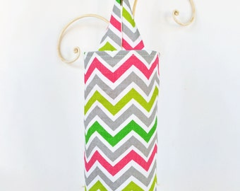 Fabric Cloth Plastic Grocery Bag Holder Chevron Grey Pink and Green