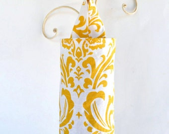 Fabric Plastic Grocery Bag Holder Dispenser Light Mustard Yellow and Cream Swirls Cloth