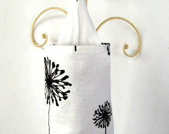 Black and White Dandelion Fabric Plastic Grocery Bag Holder