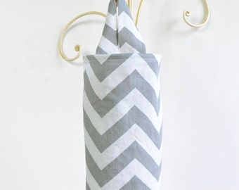 Fabric Cloth Plastic Grocery Bag Holder Chevron Grey White