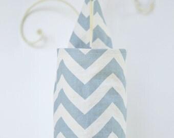 Fabric Cloth Plastic Grocery Bag Holder Chevron Light Smoky Blue